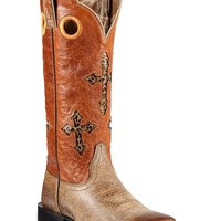 Ariat Ranchero Leopard Print Cross Inlay Cowgirl Boots - Square Toe - Sheplers