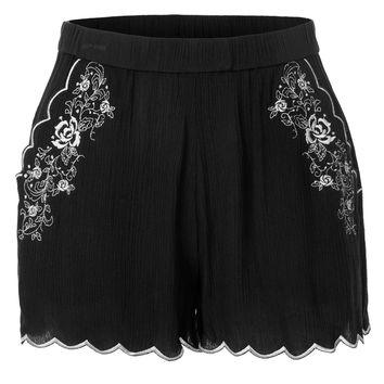 LE3NO Womens Lightweight Scallop Hem Floral Summer Shorts with Elastic Waistband