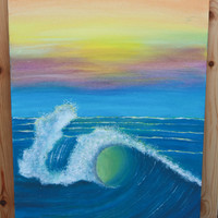 Ocean Wave Acrylic Painting, Ocean scene painting, Canvas paintings, Big wave Painting, Colorful painting, Bright water painting, Sunset art