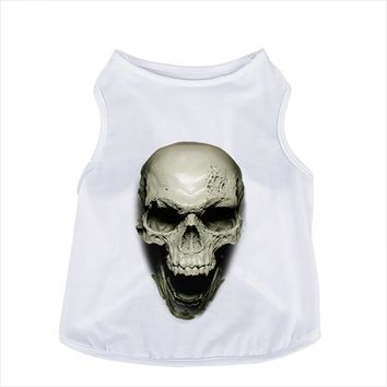Soft Cotton Pet Clothes Summer Dog 3 Size Thin Breathable White T-shirt 3D Skull Head Smile Pattern  Apparel Puppy Cat