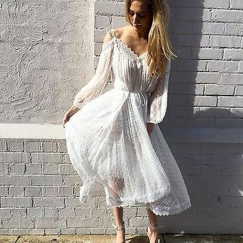 elegant lace Sheer white Asymmetrical summer dresses slash neck off shouder long sleeve lining women maxi dress vestidos 2017