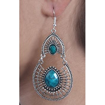 Antique Silver Created Blue Fire Opal Teardrop Earrings with Secure Wire and Hook Backs