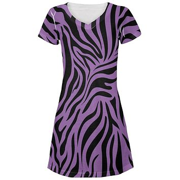 Zebra Print Purple Juniors V-Neck Beach Cover-Up Dress