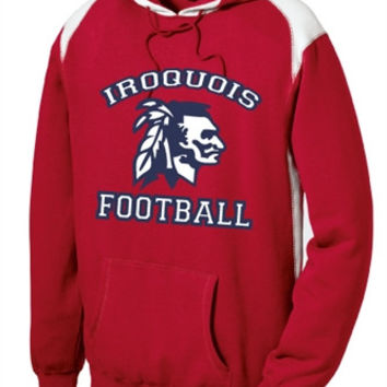 Iroquois HS Football Sport-Tek® Mens Pullover Hooded Sweatshirt with Contrast Color
