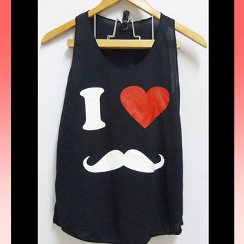 I love heart mustache funny tee workout tank tops white and black print love clothing/ a line tank/ teen girl women clothes size XS S L