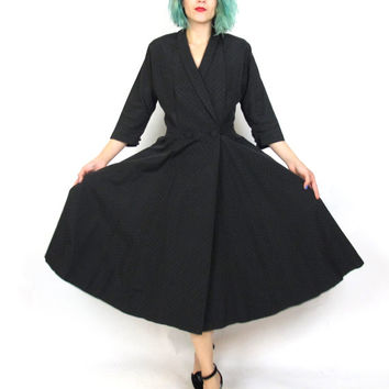 1950s Black Full Skirt Dress 50s New Look Dress Dolman Half Sleeve Dress Evening Wrap Dress with Pockets Retro Cocktail Party Dress (M/L)