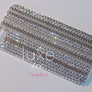 iPhone 4, 4s, 5, 5s, 5c case made w Swarovski Crystal Elements. Crystals & chains silver