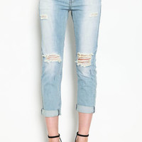 Light Wash Rip Knee Boyfriend Pants - LoveCulture