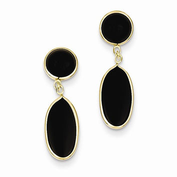 14k Yellow Gold Polished Oval Onyx Post Earrings