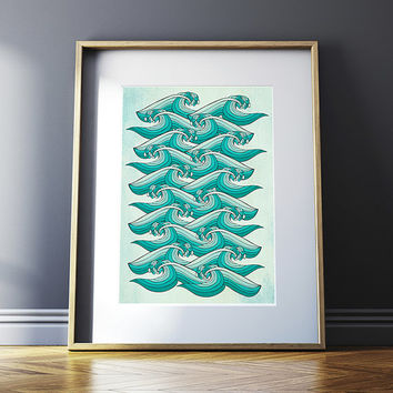Ocean Retro Vibe - Poster Print 8x10 or 11x14 - For Your Home Decor