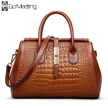 Go Meetting Brand Genuine Leather Women's Handbags High Quality Cowhide Women Shoulder Bags Vintage Alligator Messenger Bag WS66