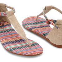 MIXED WOVEN BURLAP VEGAN WOMEN'S PLAYA SANDALS
