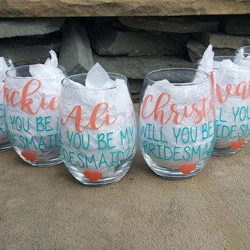 Bridesmaid Wine Glass, Bridesmaid Wine Glasses, Bridesmaid Gift, Will You Be My Bridesmaid, Personalized Wine Glass