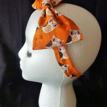 Owl Orange Dapper Rockabilly Inspired Hair Bow and Headband Boutique Cotton Fabric