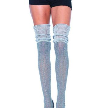 MDIGH3W Acrylic pointelle over the knee scrunch sock in GREY