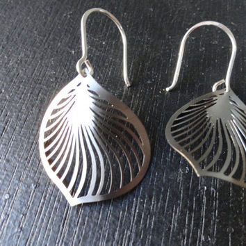 Gunmetal Petal Swirl Earrings by SugarandSoySauce on Etsy