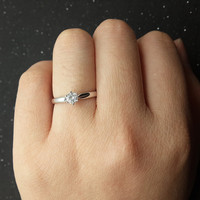 Custom made 1ct Brilliant Moissanite Solitaire Engagement ring White gold,wedding band,14k,Round Cut,Gemstone Promise Ring,6-Prongs,Fashion