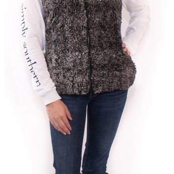 Simply Southern Sherpa Vest Monogrammed - Brown