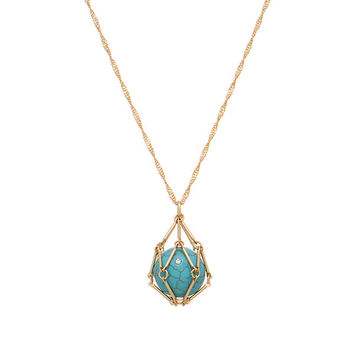 Turquoise And Gold Cage Necklace
