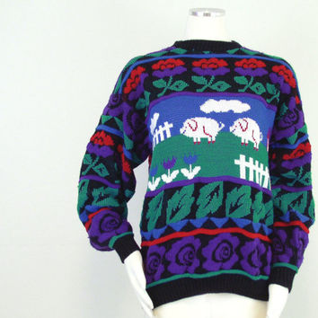Vintage 80s Colorful Pig Motif Women's Hipster Sweater - Cozy Kitsch Bright Fair Isle Knit Oversize Jumper