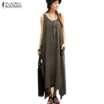 Casual Loose Sleeveless Maxi Dress - Various Colors