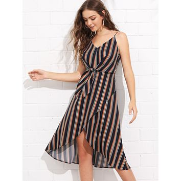 Knot Front Overlap Front Striped Cami Dress