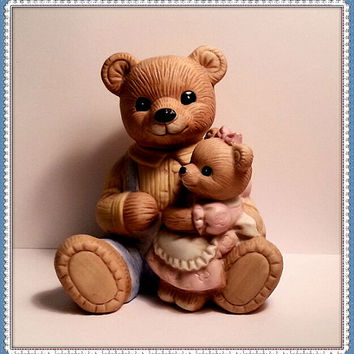 Father and Daughter Bears Figurine - Homco #1444 - Vintage Porcelain