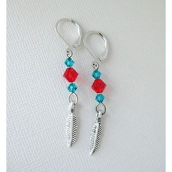 Siam Red and Blue Zircon Swarovksi Crystal Earrings with Feather
