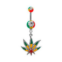 Belly Ring Pot Leaf Rasta