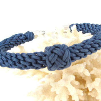 Sailors Bracelet Marlinspike Knotting in Marine Blue Cord Historical Craft Gift for Her Nautical Wedding Jewelry Gift for History Teacher