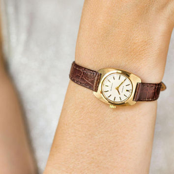 Lady's Eterna Concept 80 wristwatch rare model, mechanical women watch 60s, gold plated watch classical timepiece, new premium leather strap