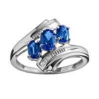 Sterling Silver Lab-Created Sapphire & Diamond Accent 3-Stone Bypass Ring