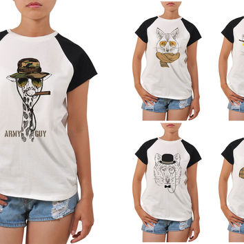 Women's Animal Retro Style Printed Short Sleeves Tee T- Shirt WTS_04