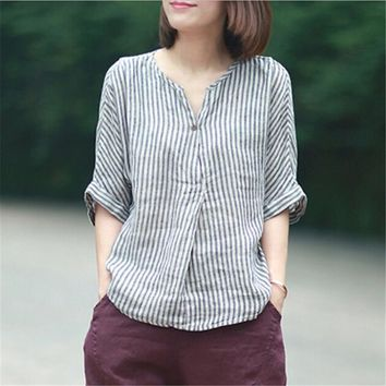 Women Striped Shirts 2018 Summer New Batwing Sleeve Casual Blouses Linen Japanese Blouse Loose Vintage Simple Top