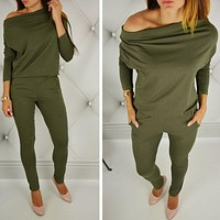 Casual New Style 2017 Solid Color Romper Playsuit Slash Neck Long Sleeve Cotton Army Green Rompers Womens Jumpsuit