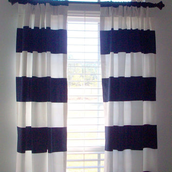 "Horizonal Stripe Drapery Panels/ 2 panels- 84"", 96"",108""- 1 pair of Window Curtains/ Large Navy & White Stripe /  Bedroom, bathroom,  L.Room"