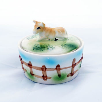 Cute Hand painted Sugar Bowl with Calf on the lid. Marked 'Foreign'