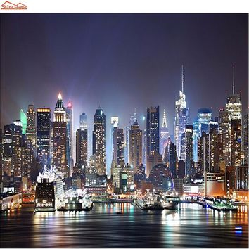 Shinehome-Modern New York Night City Building Mural Rolls 3 d Wallpaper for Living Room 3d Wall Paper Roll Papel De Parede 3d