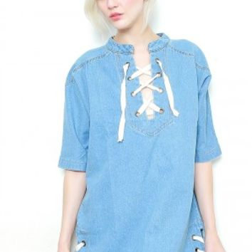 Forever Jane Denim Dress-Light Blue