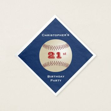 Baseball Paper Napkins, 21st Birthday Party Napkin
