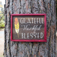 """Joyful Island Creations """"Grateful, thankful, blessed"""" wood sign, fall sign, fall decor, thanksgiving sign, ombre feather, wood framed sign"""