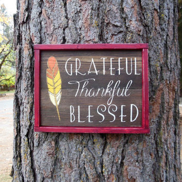 "Joyful Island Creations ""Grateful, thankful, blessed"" wood sign, fall sign, fall decor, thanksgiving sign, ombre feather, wood framed sign"