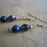 Dark Midnight Sky Navy Cobalt Blue Earrings Pale Gold Tan Copper Glass Beaded Jewelry