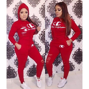 Champion Fashionable Women Casual Print Hoodie Top Pants Set Two-Piece Sportswear Burgundy