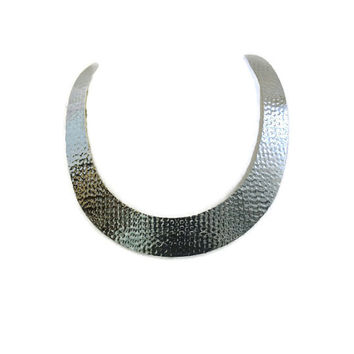 Vintage 1980's Metal Choker Torque Necklace Cuff Necklace Bib Necklace In Silver Tone Metal