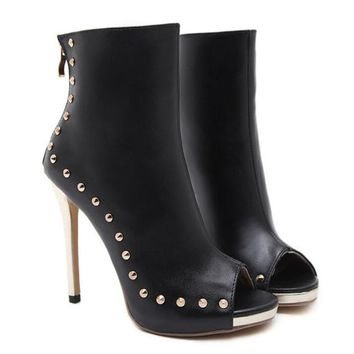 Ankle Boots Sexy Peep Toe Rivets High Heels
