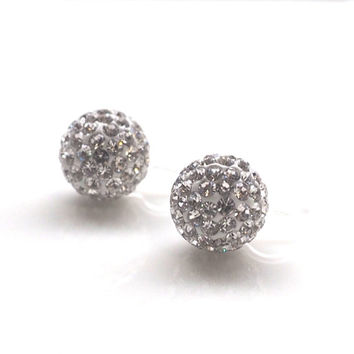 Pave Ball Invisible Clip On Earrings, Wedding Rhinestone Clip On Stud Earrings, Bridal Crystal Clip-ons, Non Pierced Earrings, Gift for Her
