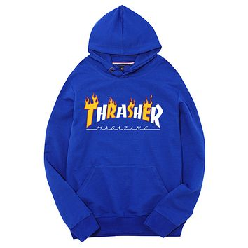 Thrasher Fashion New Bust Flame Letter Women Men Hooded Long Sleeve Sweater Top Blue