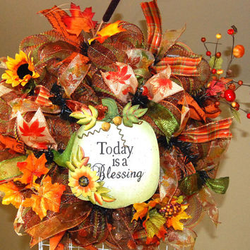 Fall Blessing Deco Mesh Wreath by KraftyKreations4You on Etsy