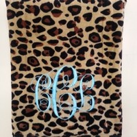 Monogrammed Animal Print Beach Towel: Leahbethdesigns